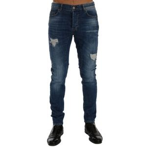 D60489-3 Blue Wash Torn Dundee Slim Fit Jeans